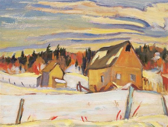 Ralph Wallace Burton - Barns in Winter Ste. Cecil de Maslow Quebec 10.5 x 13.5 Oil on board