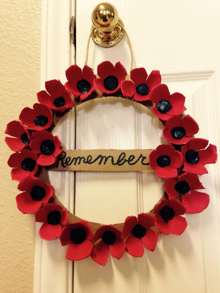 Our Veterans Day Remembrance Wreath-we cut the poppies from egg cartons and then painted them.