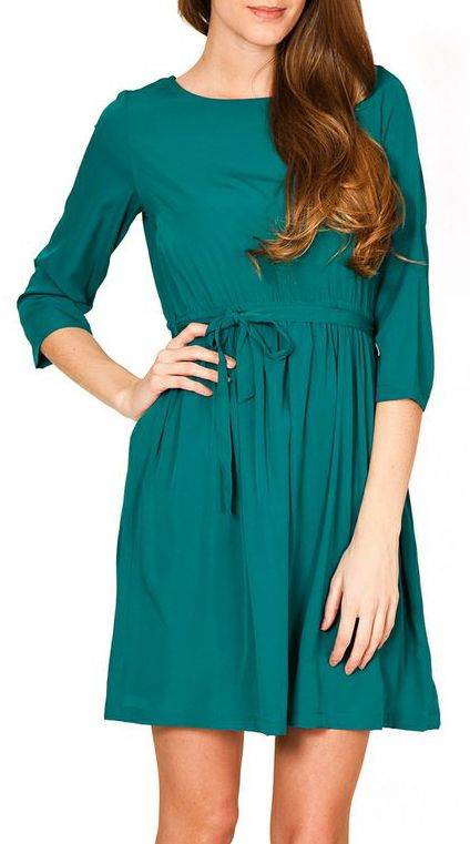 Tantra Green Tie-Waist A-Line Dress