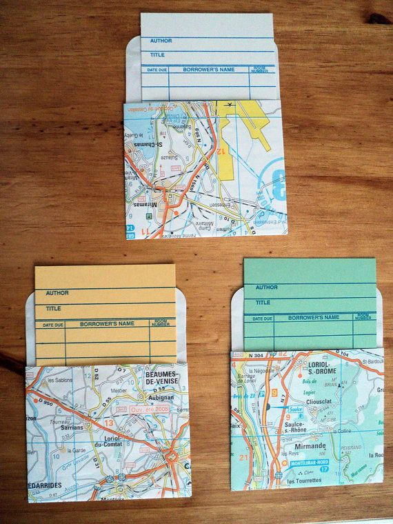 Map Library Pockets and Cards Set of 3 by thephantomlimb on Etsy, $4.75