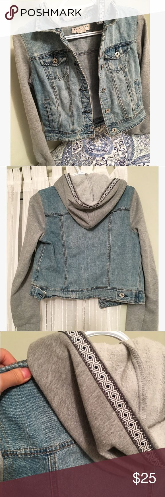 Hooded jean jacket with grey sleeves LIKE NEW Condition; purchased from PAC SUN Urban Outfitters Jackets & Coats Jean Jackets