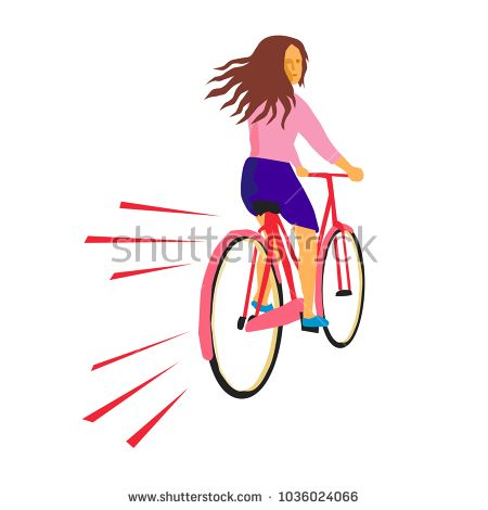 Retro style illustration of a girl riding a vintage cruiser bicycle looking back on isolated background.  #bicycle #retro #illustration