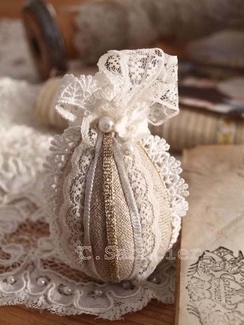 easter linen and lace egg