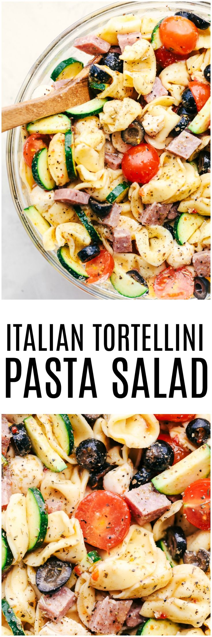 Easy Italian Tortellini Pasta Salad is full of fresh summer veggies, salami, and tortellini pasta. It is tossed in a zesty italian dressing and is always the hit of the potluck!