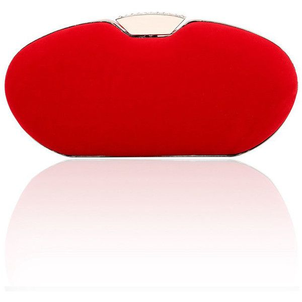 Simplicity Elliptical Plain Evening Clutch Bag (£22) ❤ liked on Polyvore featuring bags, handbags, clutches, red clutches, red evening purse, red handbags, red evening handbags and evening handbags