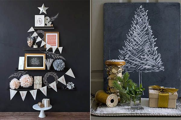 Настенный  декор в виде праздничной новогодней елки