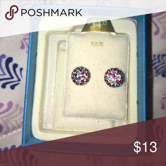 Piercing Pagoda earrings Multi colored rhinestone stud earrings. The earrings are white and have pink, purple-ish pink and blue stones. Have been sterilized and only worn a couple of times! Super pretty! Come in original box. Piercing Pagoda Jewelry Earrings