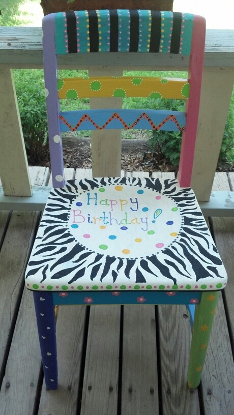 Old wooden chair repainted for a birthday chair for my classroom.