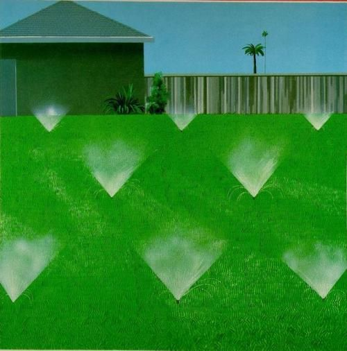 David Hockney, A Lawn Being Sprinkled, 1967