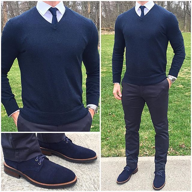 The V-Neck Sweater. Classic outfit. Conservative style.