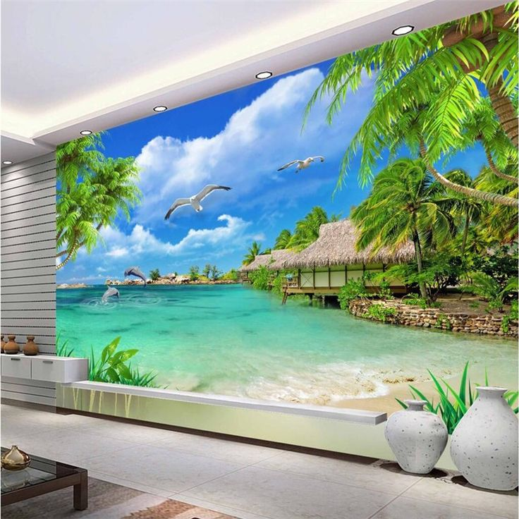 Custom Size Modern Wall WallPaper Tropical Maldives Tourism Landscape Luxury Wall Covering BedRoom Mural Background Wallpapers #Affiliate