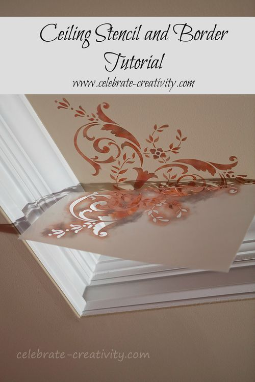 Easy tutorial on how to add a stencil and border to a ceiling.  Royal Stencil corner and border design.