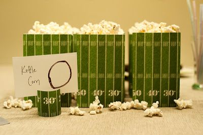 I served microwave kettle corn in boxes I made by printing a football field on cardstock. I didn't want the boxes to be too tall, so I trimmed the paper after printing, and used the leftover strips for decorating the candy dishes for bingo.