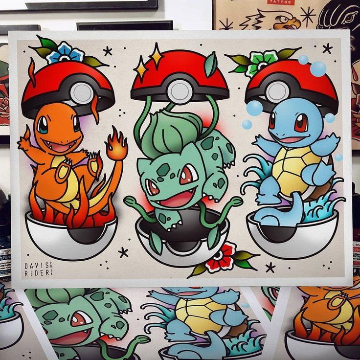 Flash Art Tattoos, Tattoo Flash Sheet, Disney Tattoos, Cartoon Tattoos, Halloween Tattoo Flash, Pokemon Tattoo, Draw Pokemon, Tattoo Geek, Arm Tattoo