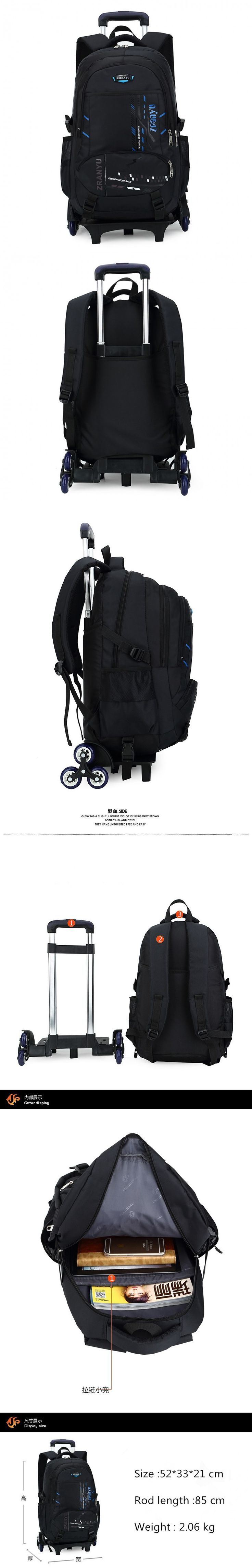 Latest Removable Children School Bags With Wheels Stairs Kids Big boy Trolley Schoolbag Luggage Book Bags Wheeled Backpack $82.5