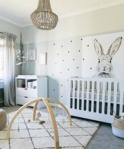 Inspiration Board: Nursery- Trendy:  This nursery is super trendy and fun, the wall decor is modern all the while looking very nice in the room. It's quite versatile as it is neutral gender.