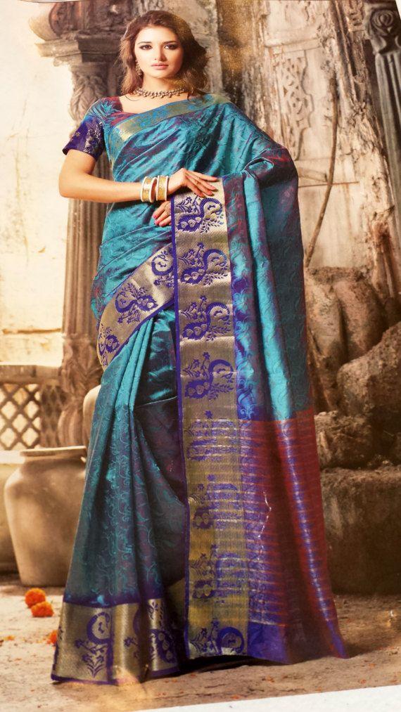 Saree indien créateur Art soie saris/paon bleu