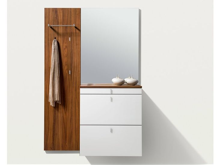 Wall-mounted wooden hallway unit CUBUS Cubus Collection by TEAM 7 Natürlich Wohnen