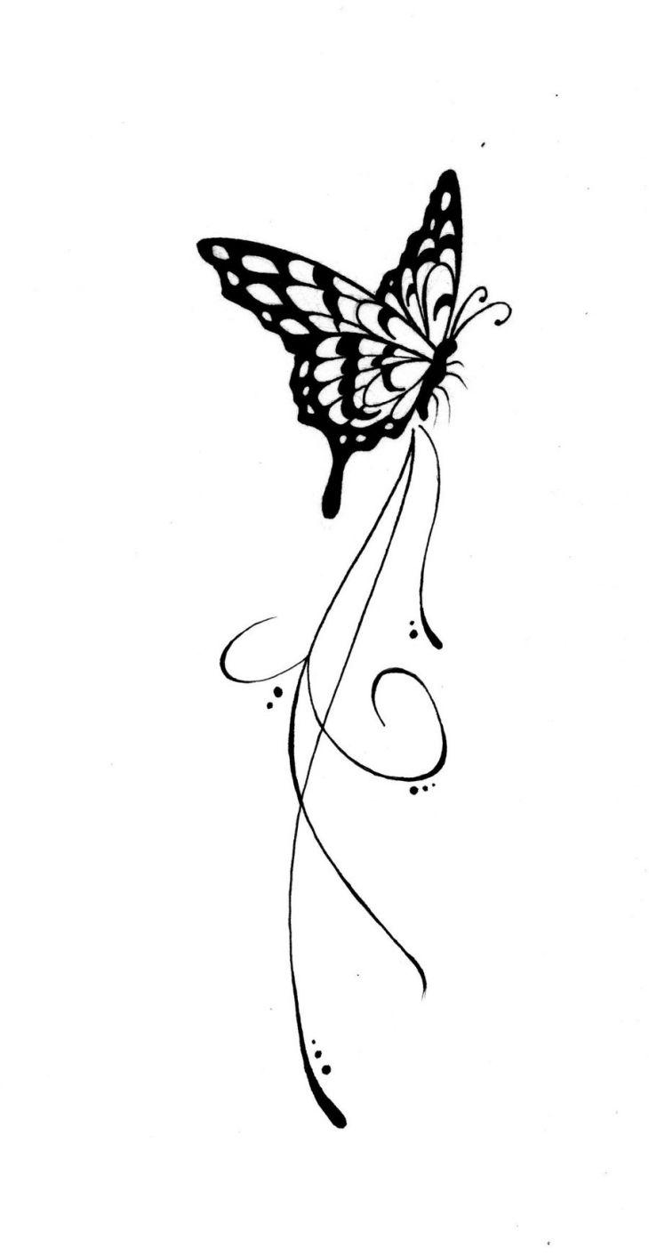 Schmetterling Tattoo Vorlage seitlich mit Schnörkel