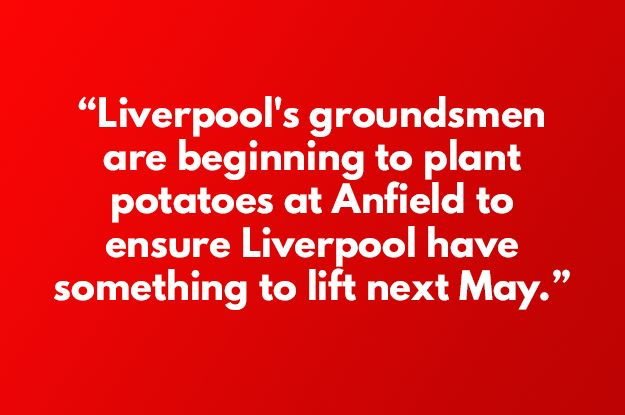 Nobody had told us about these extreme measures at Anfield...