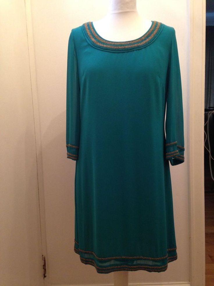 WOMEN'S MONSOON GREEN DRESS UK SIZE 10 EUR 38 EMBELLISHED  ON THE NECK BEAUTIFUL