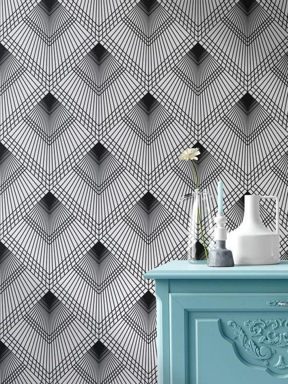 Geometric Removable Wallpaper Art Deco Wallpaper Modern Etsy Geometric Removable Wallpaper Art Deco Wallpaper Removable Wallpaper