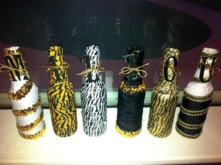Mizzou decorations beer bottles ribbon tah dah for Beer bottle decoration ideas