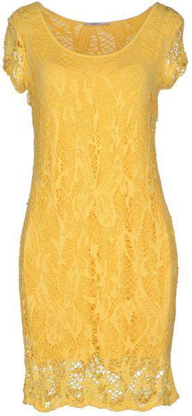 Gold Case Yellow Short Dress - Lyst