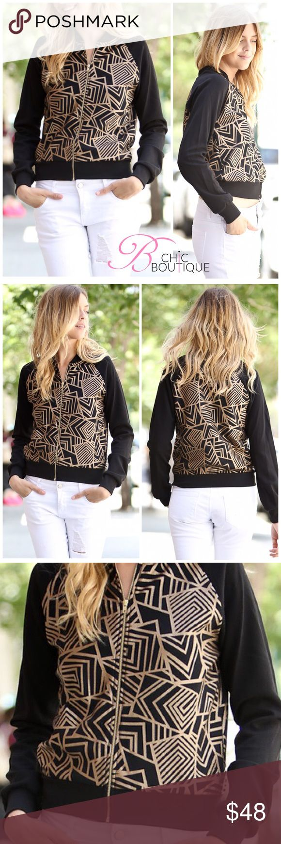 "🆕 Black and Gold Bomber Jacket Kick off the fall/winter season in this unique stylish black bomber jacket featuring gold color abstract patterns. Made of 96/4 polyester-spandex material for that added stretch. Finished with a gold color zipper and a thick bottom hemline. MADE IN USA 🇺🇸  Measurements laying flat Small Bust 17""/ length 21""  Medium Bust 18.5""/ length 21.5""  Large Bust 20""/ length 22""  ✔️ Bundle Discounts  ✔️ Reasonable Offers through offer button  ❌ Low Balling  ❌ Trades…"