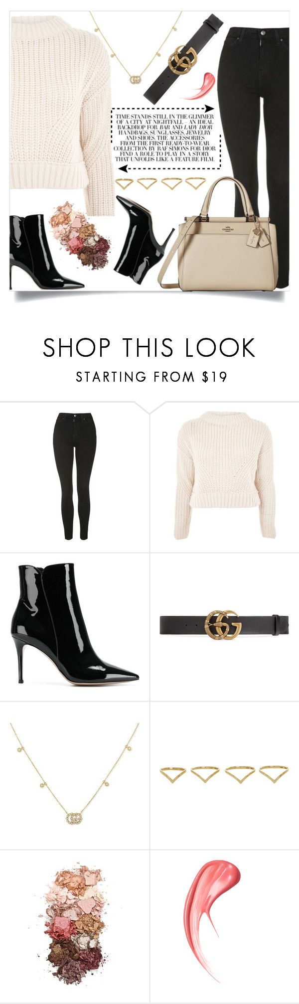 """""""Interior Nights ✨"""" by wondrousbeing ❤ liked on Polyvore featuring Topshop, Gianvito Rossi, Gucci, Ana Khouri, Sigma, Coach, outfit, chic, fabulous and casualoutfit"""