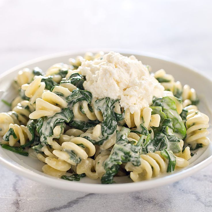 Cook's Illustrated Fusilli with Ricotta and Spinach. The nutmeg and cayenne add terrific warmth.