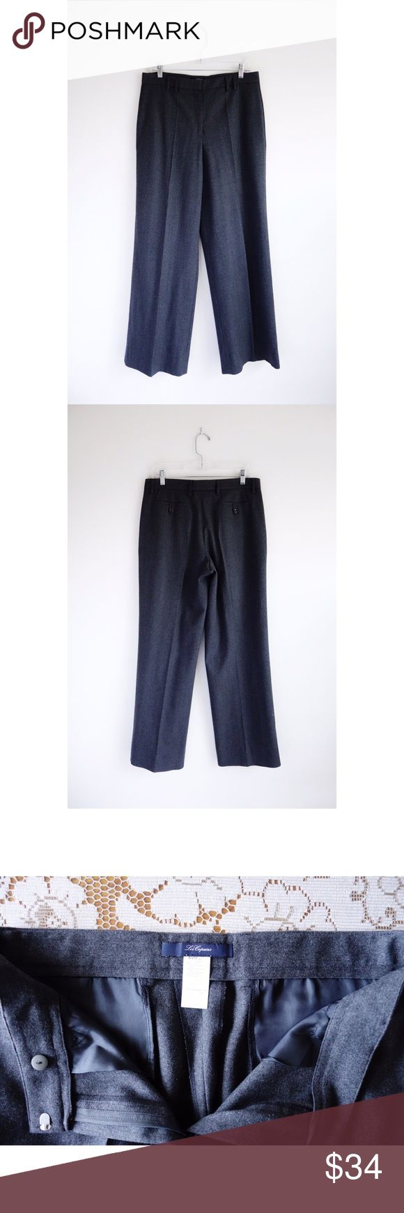 """Blue Les Copains Grey Stretch Wool Pants sz US 10 Blue Les Copains Grey Stretch Wool Pants size IT 46 US 10, EUC—no rips, stains, or holes, 95% wool, 5% elastane, 16.5"""" across waist, 12"""" front rise, 31.5"""" inseam, 23"""" leg opening, thin waistband with belt loops, zip up with hook and eye closure, slant seam pockets in front, back welt pockets with buttons in back Les Copains Pants Straight Leg"""