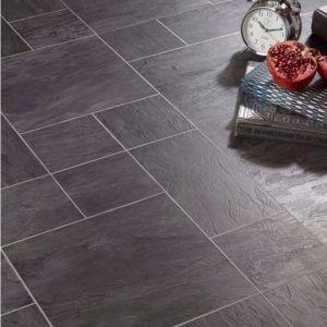 Leggiero Black Slate Tile Effect Laminate Flooring