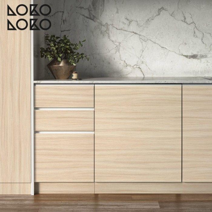 Vinilo de texturas de madera impresa para forrar muebles de cocinas nuevas #lokolokodecora