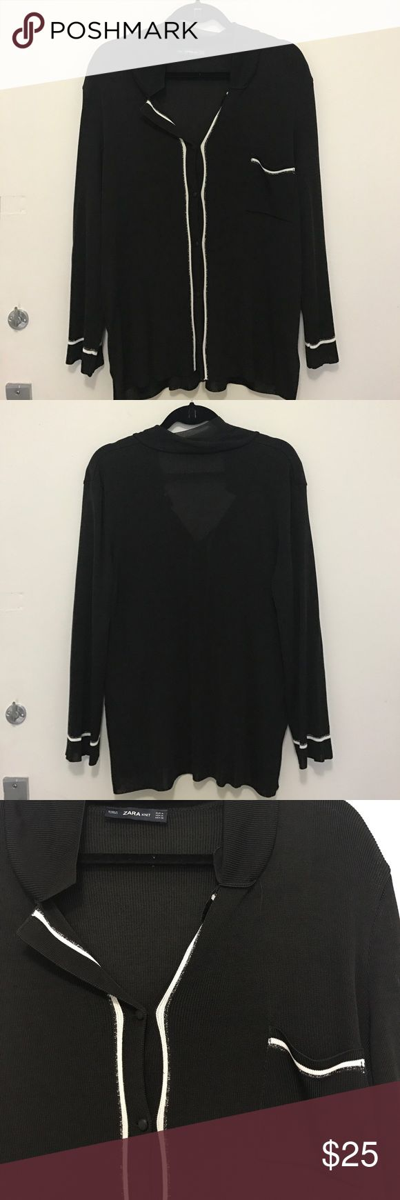NWOT Zara Black Blouse with White Detail NWOT Zara Black Blouse with White Detail and a hint of sparkle! Never been worn. Can be worn up or down, with buttons open or closed! Zara Tops Button Down Shirts