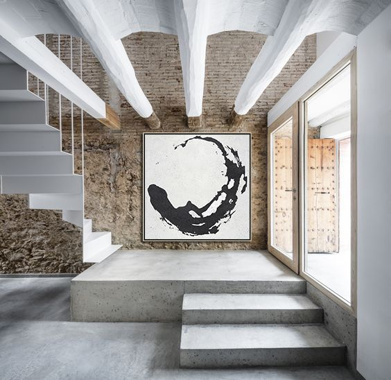 Best Minimal Black And White Painting Mn51A Interior Stairs 400 x 300