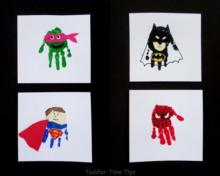 Fun super hero hand print pics!