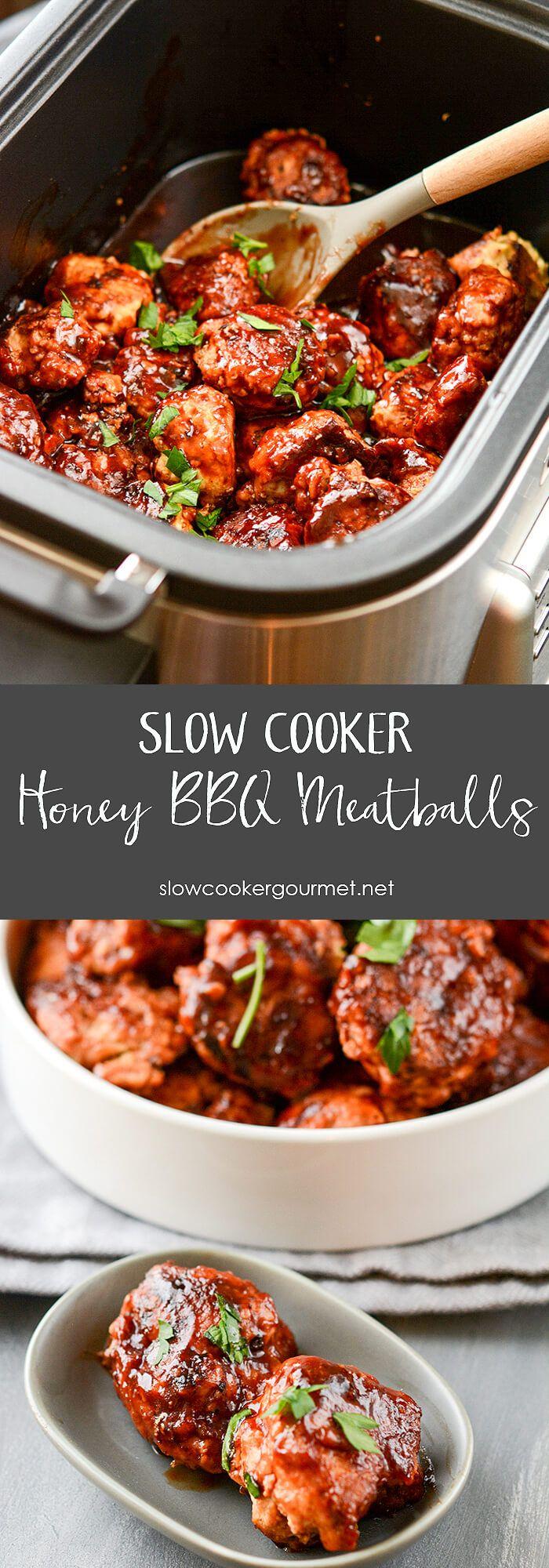 Slow Cooker Honey BBQ Meatballs