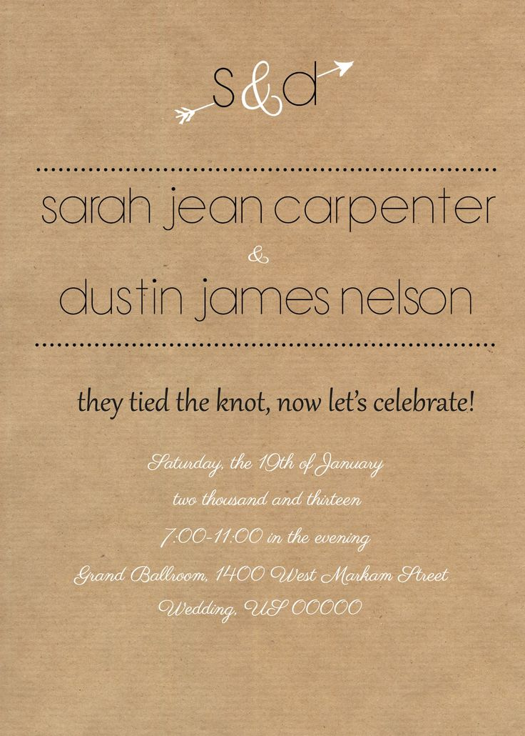 casual evening wedding invitation wording%0A Rustic reception invite  I like the wording of this  especially if I  someday decide