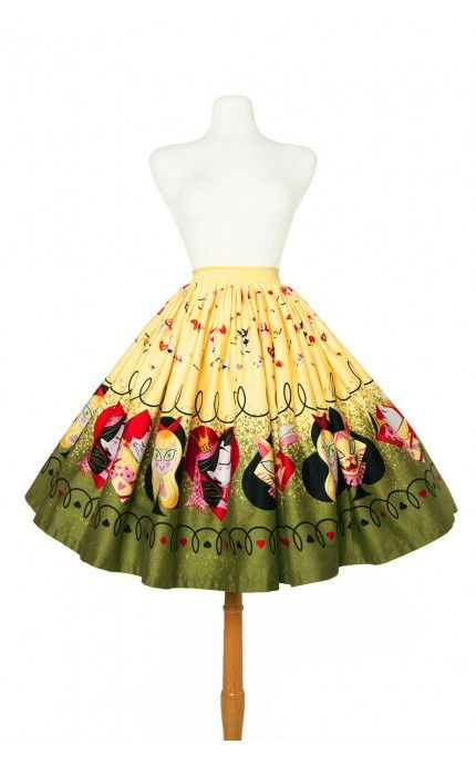 Pinup Girl Clothing- Jenny Skirt in Queen of Hearts Border Print | Pinup Girl Clothing
