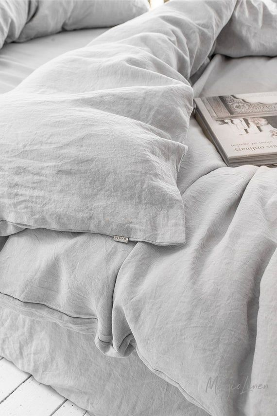Linen Bedding Set In Light Gray King Queen Linen Duvet Cover Set With 2 Pillowcases Linen Duvet Cover Grey Bed Linen Sets Linen Duvet
