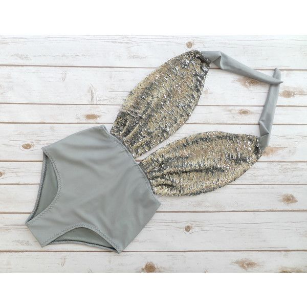 Swimsuit High Waisted Vintage Style Gray Silver Mermaid Flip Sequin... ($58) ❤ liked on Polyvore featuring swimwear, one-piece swimsuits, silver, women's clothing, sexy one piece swimwear, high-waisted bathing suits, high waisted one piece swimsuit, retro high waisted swimsuits and swim suits