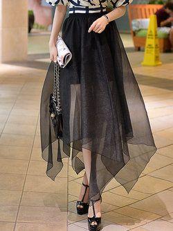 Asymmetric Statement Plain Polyester #Midi #Skirt