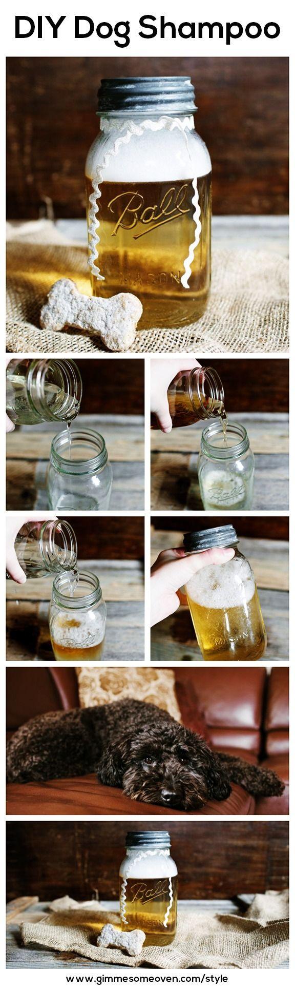 DIY Dog Shampoo -- so easy to make with just 4 ingredients! | gimmesomeoven.com