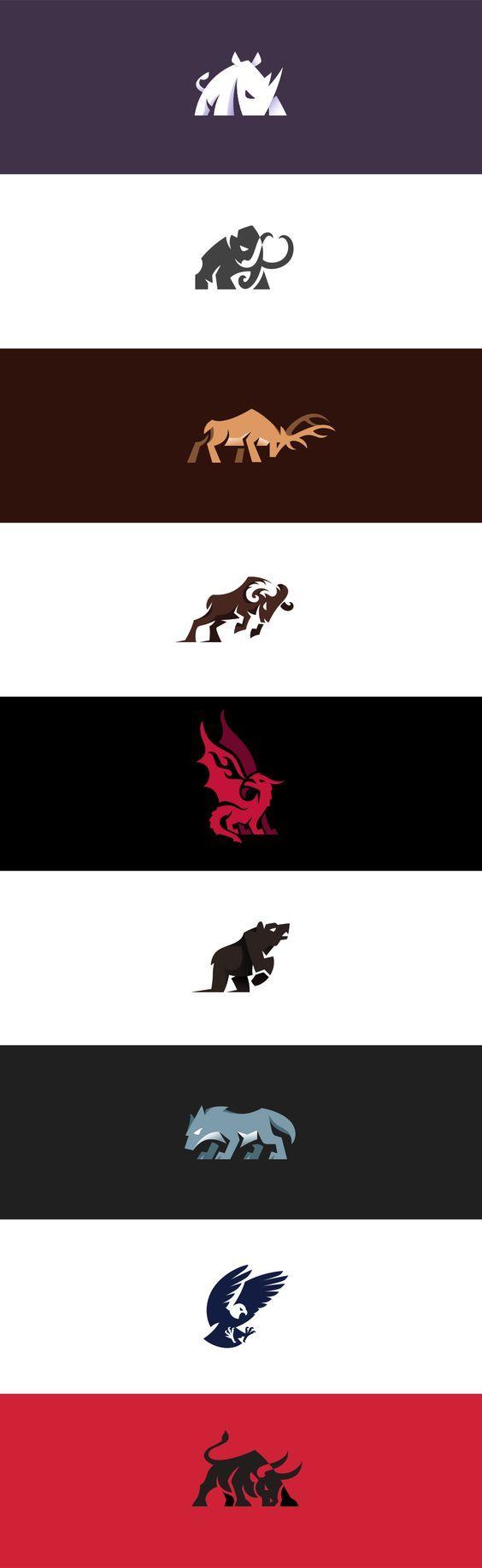 Aggressive and charging animal logos I made.