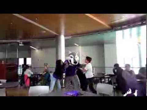 """A group of students thought it would be fun to shake things up during Spirit Week at Joliet Junior College. They placed a """"drama button,"""" near the Campus Center Cafeteria, and when somebody pushed it -- the excitement began. Students started arguing, vikings and cowboys ran up to see what was going on, and there were appearances by Wiley the Wolf, Mr. Taco and the Cookie Monster. This event was a fun way to celebrate Spirit Week at JJC."""