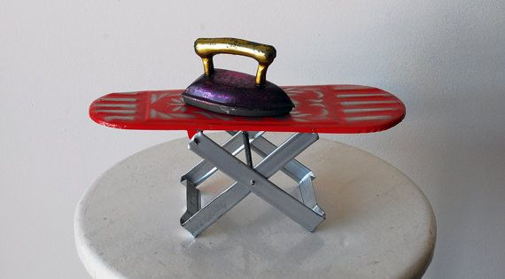 Vintage Tin Toy Ironing Board & Iron  1970s by portugalpop on Etsy