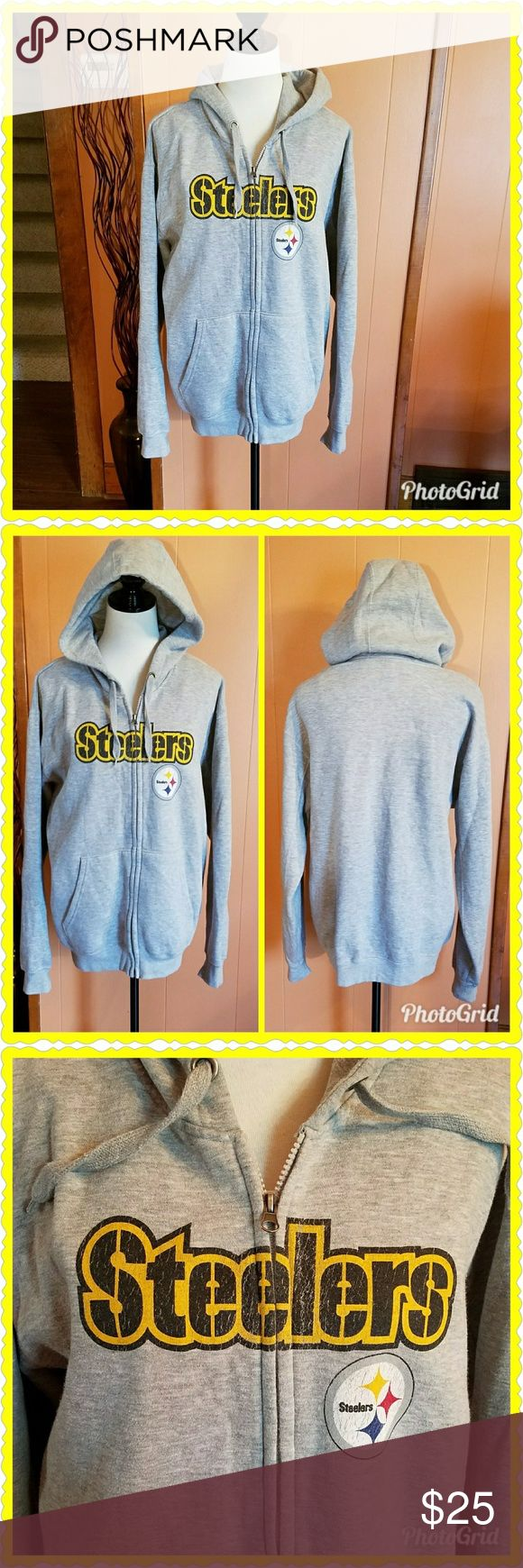 Gray Pittsburgh Steelers hoodie This gray zip-up hoodie is heavy and warm. Full zip front. The tag does not have the size listed, but I am positive this is an extra large. Excellent used condition. NFL Tops Sweatshirts & Hoodies