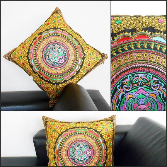 1Pillow Cushion Handmade Exquisite Embroidered, Golden Pillow Cover, Pillowcase. (PL1003) on Etsy, $12.88
