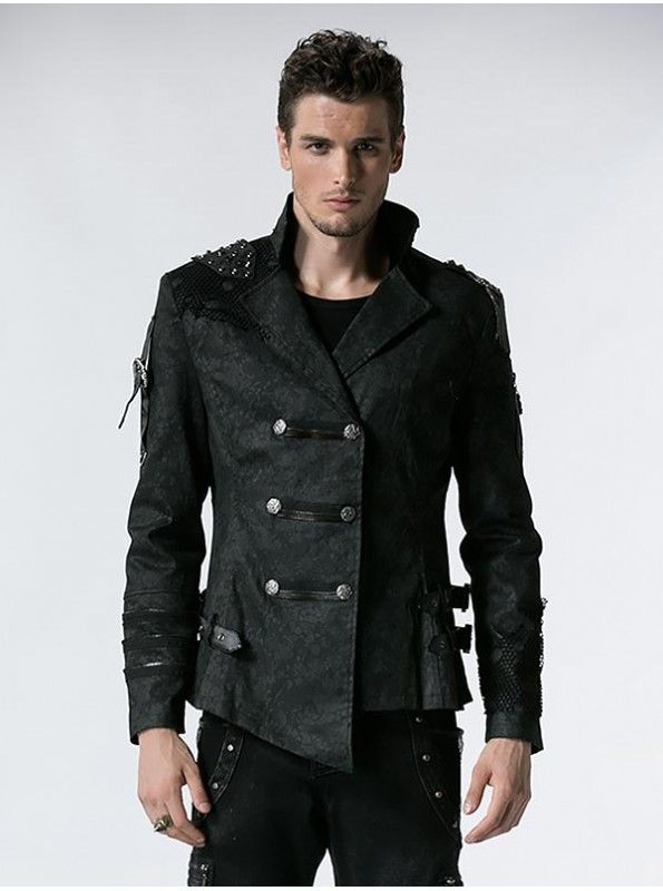 A staple in the wardrobe of any goth or punk, biker style jackets put off an aura of rugged inspired by military designs. Black Leather Double Breasted Military Gothic Style Trench Coats Men. #punk #grunge #goth #metal #tumblr #black